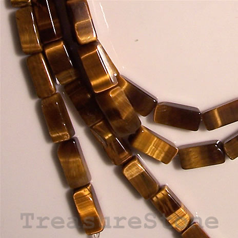 Bead, Tiger's Eye, 5x11mm rectangle. 16-inch strand.