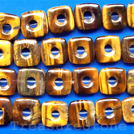 Bead, tigereye, 12mm square donut. 16-inch strand.