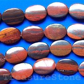 Bead, tiger iron, 13x18mm flat oval. 16-inch strand.