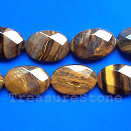 Bead, tiger iron, 20x30mm faceted puffed oval. 16-inch strand.