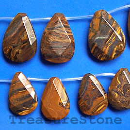 Bead, tiger iron, 22x32mm faceted flat teardrop. 16-inch strand.