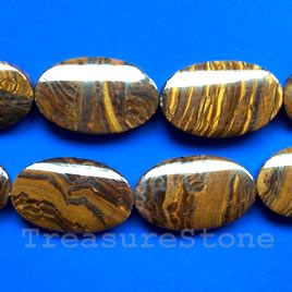 Bead, tiger iron, 20x35mm puffed oval. 16-inch strand.