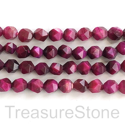 Bead, dyed Tiger's Eye, fuchsia, 7x8mm star cut. 14.5inch, 46pcs
