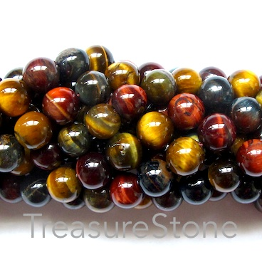 Bead, blue, red, yellow Tiger's Eye, 8mm round. 15.5-inch, 49pcs