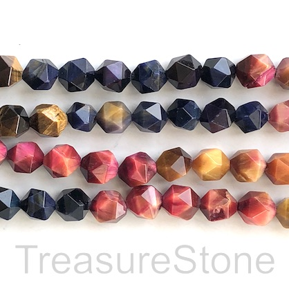 Bead, dyed Tiger's Eye, mixed, 9x10mm star cut. 15.5inch, 39pcs