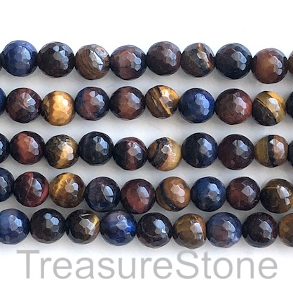 "Bead, dyed Tiger's Eye, mixed color, 8mm faceted round. 15"", 49p"