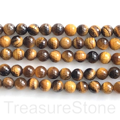 Bead, Tigers eye, 8mm, faceted round, Grade A. 15-inch, 46pcs