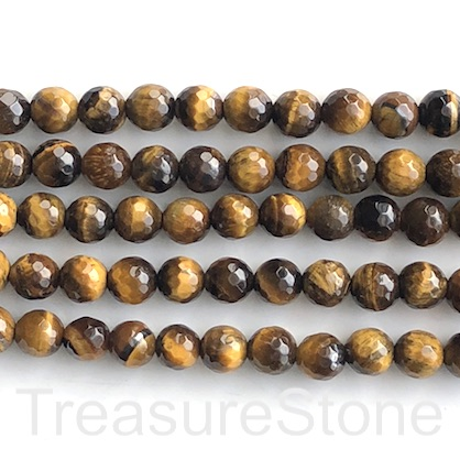 Bead, Tigers eye, 8mm, faceted round, Grade B. 14.5-inch, 46pcs
