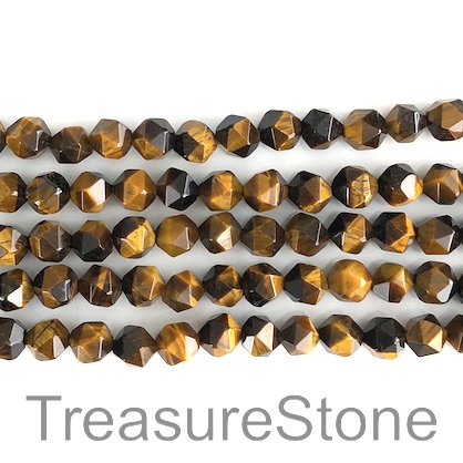 Bead, Tigers eye, 8mm, faceted nugget. 15.5-inch, 48pcs