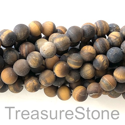 Bead, Tiger's Eye, 8mm round matt, grade B. 15-inch, 48pcs
