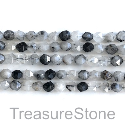 Bead, tourmalinated quartz, 7x8mm faceted,star cut. 15.5inch, 47