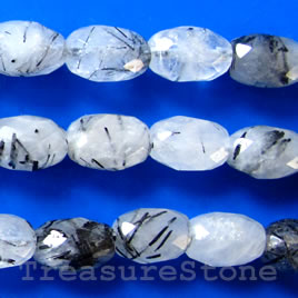 Bead, tourmalinated quartz, 8x12mm faceted oval. 16 inch strand.