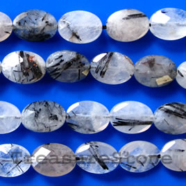 Bead, tourmalinated quartz, 8x12mm faceted puffed oval. 16 inch.