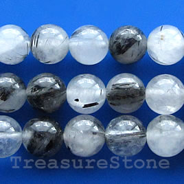 Bead, tourmalinated quartz, 6mm round. 16-inch strand.