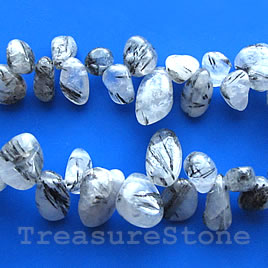 Bead, tourmalinated quartz, top-drilled Chip. 16-inch strand