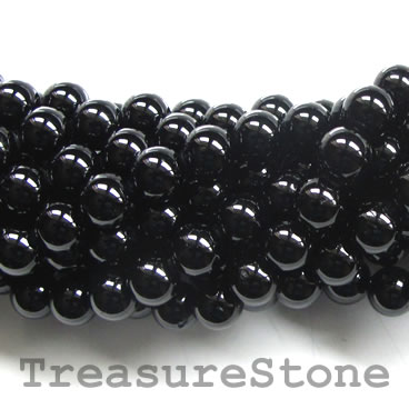 Bead, black tourmaline, grade B, 8mm round. 15-inch, 47pcs