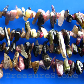 Bead, tourmaline large chips, about 10mm, 15.5-inch strand