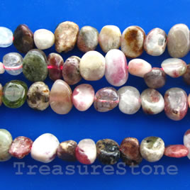Bead, tourmaline flat nugget, about 8mm, Grade B, 16-inch strand