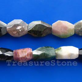 Bead, tourmaline faceted nugget, about 12x18x7mm, 16-inch