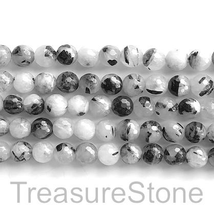 "Bead, tourmalined quartz, 8mm faceted round. 15.5"", 48pcs"