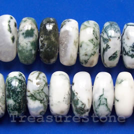 Bead, tree agate, 10x20mm double-drilled, 16-inch strand.