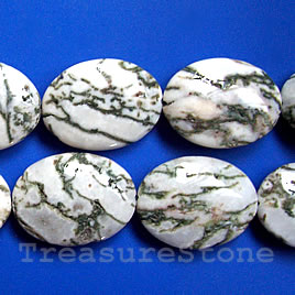 Bead, tree agate, 23x30mm puffed oval. 16-inch strand.