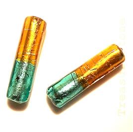 Bead, lampworked glass, gold+green, 9x32mm round tube. Pkg of 4.