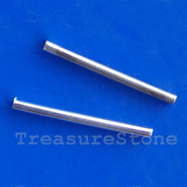 Tube, silver-plated, 2x20mm. Pkg of 20.
