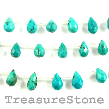 Bead, turquoise (natural), 8x11mm faceted briolette. Pkg of 26.