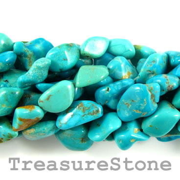 Bead, turquoise (natural), about 13mm nugget. 16-inch strand.