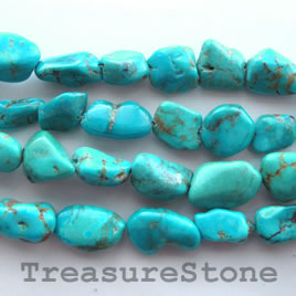 Bead, turquoise (natural), 11x17mm nugget. 16-inch strand.