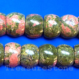 Bead, unakite, 12x18x7mm double-drilled. Sold per pkg of 32pcs