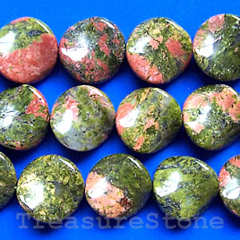 Bead, unakite, 16mm twisted round. 16-inch strand.