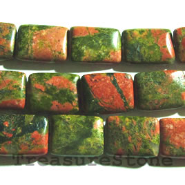 Bead, unakite, 12x16mm rectangle. 16-inch strand.