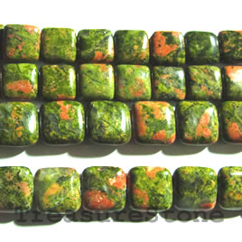 Bead, unakite, 10mm flat square. 16-inch strand.