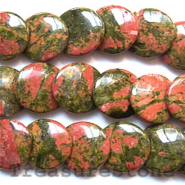 Bead, unakite, 16mm flat round, angle-drilled. 16-inch strand.
