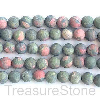 Bead, unakite, 8mm round, matte, frosted. 15.5-inch, 46pcs