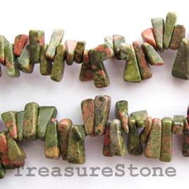 Bead, unakite, 7x15mm top-drilled stick. 16-inch strand. Bead,