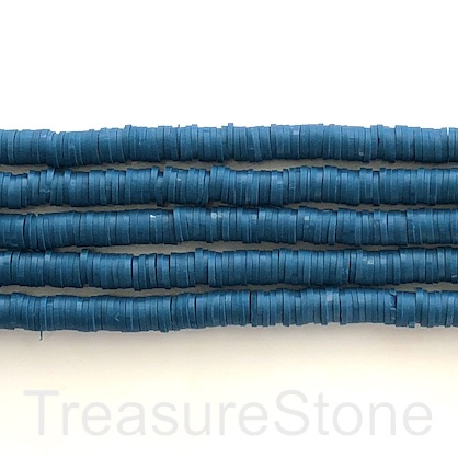 Bead,African Vinyl Rubber,Polymer dark blue 6mm heishi disc,16""
