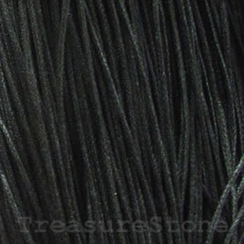Cord, waxed cotton, black, 1mm. Sold per 6-meter.