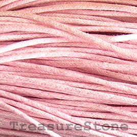 Cord, waxed cotton, pink, 2mm. Sold per 6-meter.