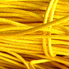Cord, waxed cotton, yellow, 2mm. Sold per 6-meter.