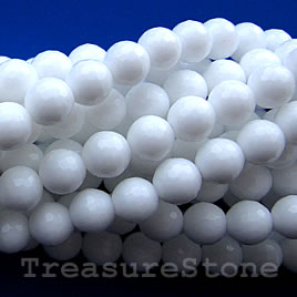 Bead, white agate, 10mm faceted round. 15.5-inch strand.