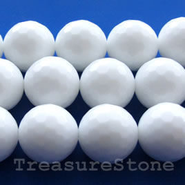 Bead, white agate, 14mm faceted round. 15.5-inch strand.