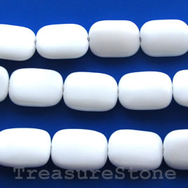 Bead, white agate, 13x18mm puffed rectangle. 15.5-inch strand.