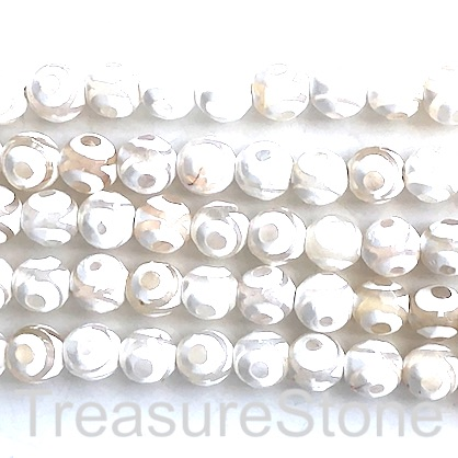 "Bead, agate, white, pattern 6, 8mm faceted round. 15"", 48pcs"