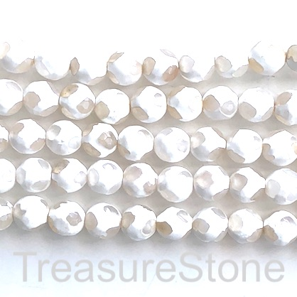 "Bead, agate, white, pattern 8, 8mm faceted round. 15"", 47pcs"