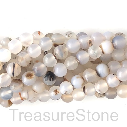 Bead, agate, white, patterned, 6mm round, matte. 15-inch, 63pcs