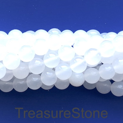 Bead, white agate, 8mm round. 15-inch, 47pcs