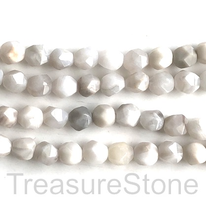 "Bead, white crazy lace agate, 8mm faceted, star cut.15.5"", 48pcs"